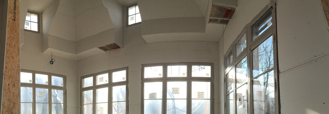 New drywall installation with lots of windows